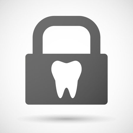 closed mouth: Illustration of a lock icon with a tooth