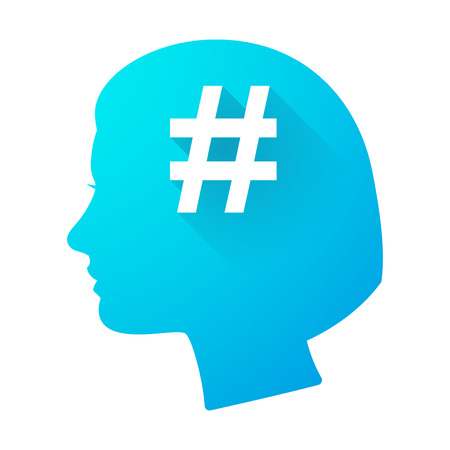 head tag: Illustration of a woman head icon with a hash tag