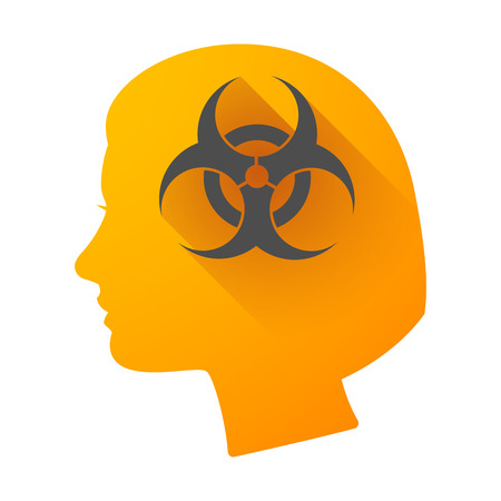 dangerous woman: Illustration of a woman head icon with a biohazard sign