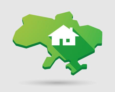 investment real state: Ilustraci�n de un mapa icono verde Ucrania con una casa Vectores