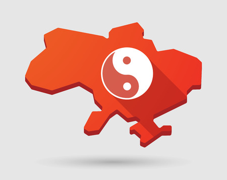 karma graphics: Illustration of a red Ukraine map icon with a ying yang Illustration