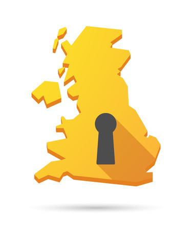 key hole: Long shadow UK map icon with a key hole Illustration