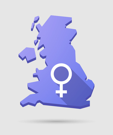 femal: Long shadow UK map icon with a female sign