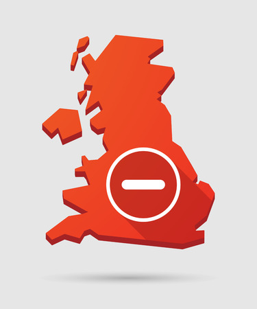 subtraction: Long shadow UK map icon with a subtraction sign Illustration