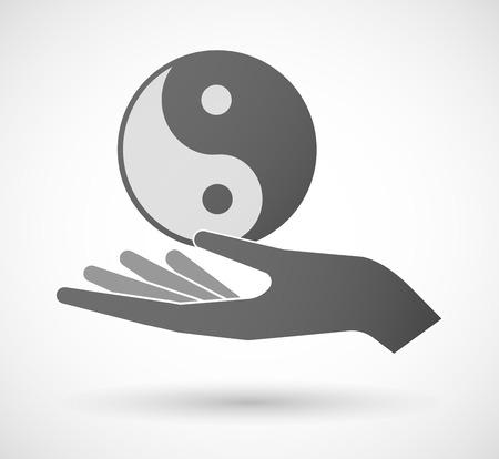 karma graphics: Illustration of a hand giving a ying yang Illustration
