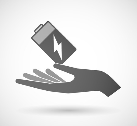take charge: Illustration of a hand giving a battery