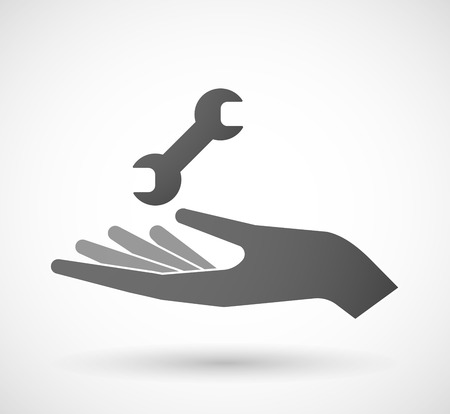 Illustration of a hand giving a wrench Vector