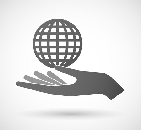 give and take: Illustration of a hand giving a world globe