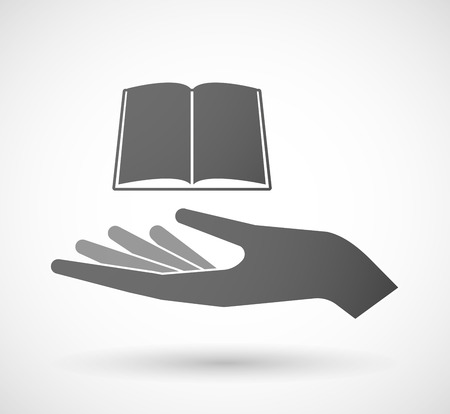 palm reading: Illustration of a hand giving a book Illustration