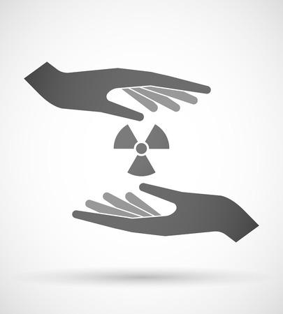 radiactividad: Dos manos que protegen o dando una se�al de radiactividad