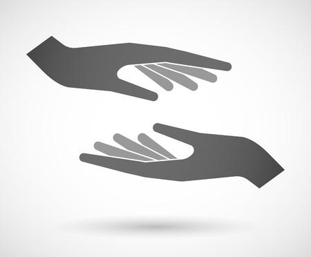 Illustration of two hands protecting or giving Stock Illustratie