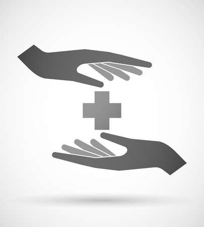 pharmacy sign: Two hands protecting or giving a pharmacy sign