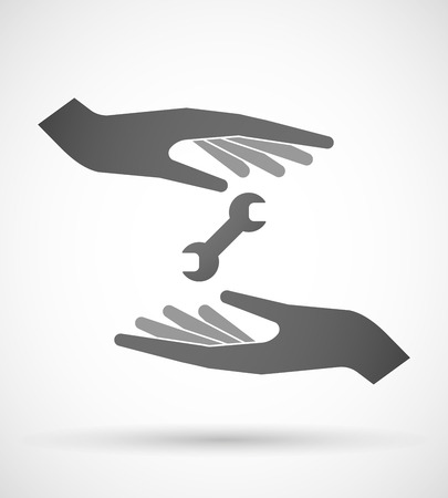 Two hands protecting or giving a wrench Vector