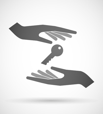 Two hands protecting or giving a key Иллюстрация