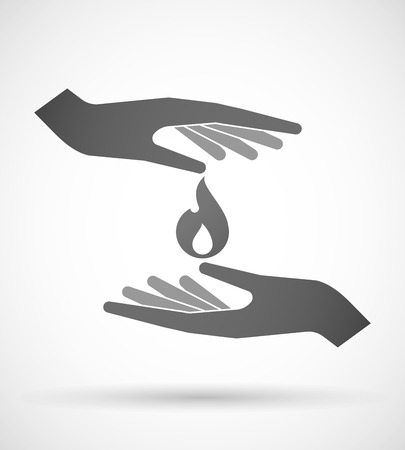 open flame: Two hands protecting or giving a flame