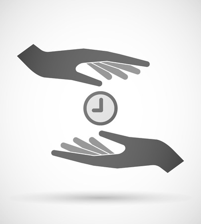 Two hands protecting or giving a clock