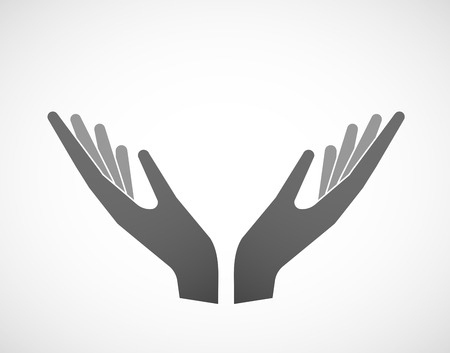 sustain: Illustration of two hands in offering pose Illustration