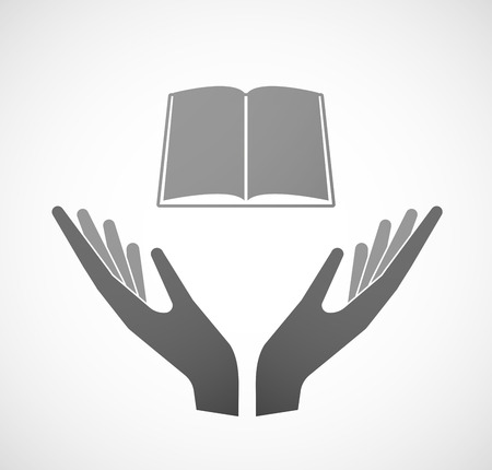 palm reading: Illustration of two hands offering a book Illustration