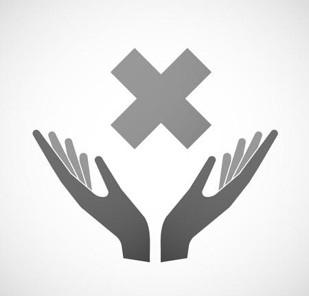 """x stand: Ilustraci�n de dos manos que ofrece una se�al de """"x"""""""