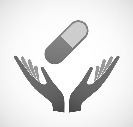 offering: Illustration of two hands offering a pill