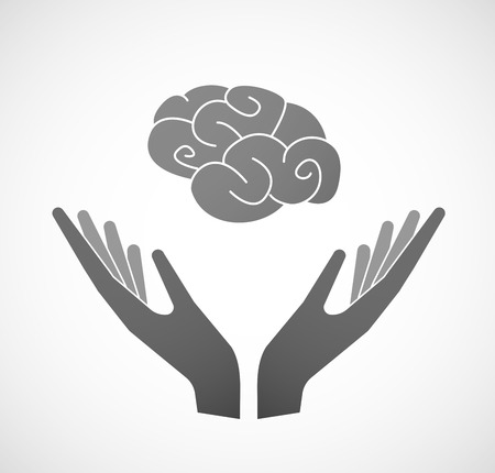 sustain: Illustration of two hands offering a brain