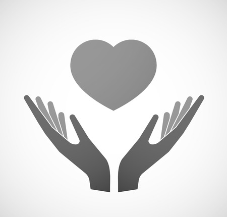 Illustration of two hands offering a heart