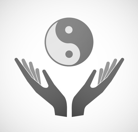 karma graphics: Illustration of two hands offering a ying yang Illustration