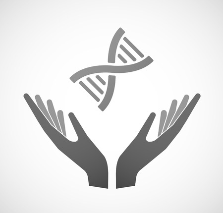 sustain: Illustration of two hands offering a DNA sign