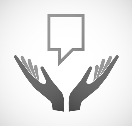 provide information: Illustration of two hands offering a tooltip