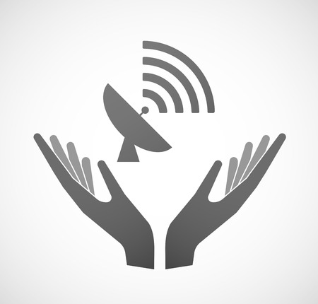 offering: Illustration of two hands offering an antenna