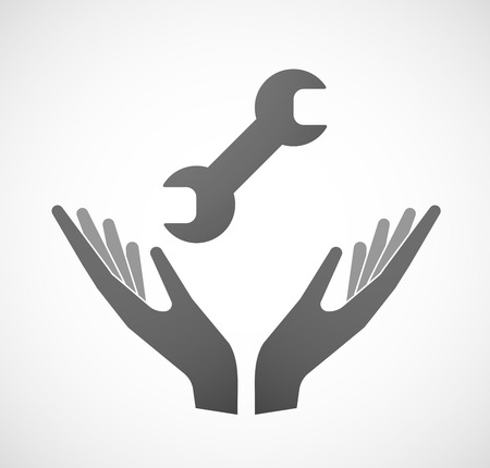 provide: Illustration of two hands offering a wrench Illustration