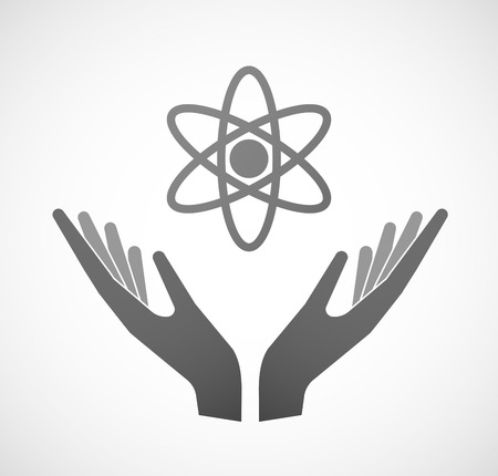 sustain: Illustration of two hands offering an atom Illustration