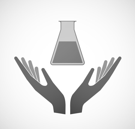 sustain: Illustration of two hands offering a chemical test tube