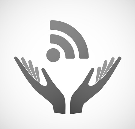 sustain: Illustration of two hands offering a RSS feed sign