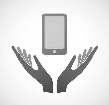 sustain: Illustration of two hands offering a smartphone