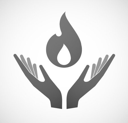 offering: Illustration of two hands offering a flame