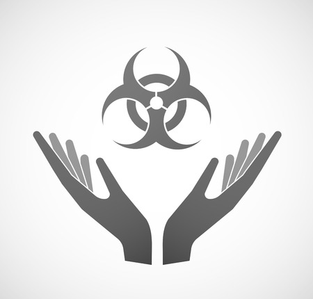 biological hazard: Illustration of two hands offering a biohazard sign