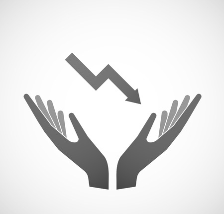 provide information: Illustration of two hands offering a graph Illustration