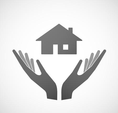 Ilustración de dos manos que ofrece una casa