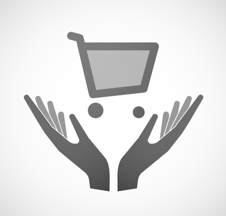 sustain: Illustration of two hands offering a shopping cart