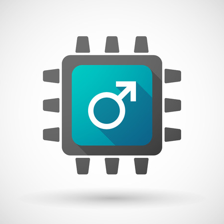 andropause: Illustration of a CPU icon with a male sign