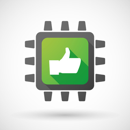 Illustration of a CPU icon with a thumb hand Illustration