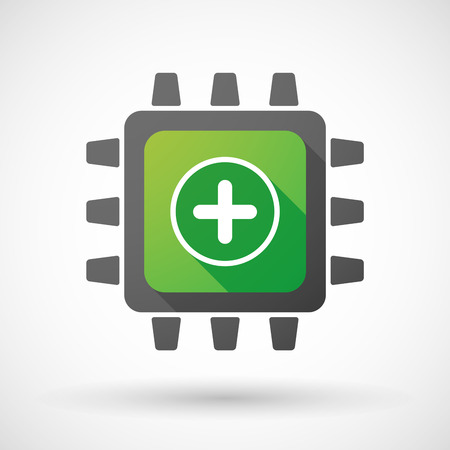 math icon: Illustration of a CPU icon with a math sign