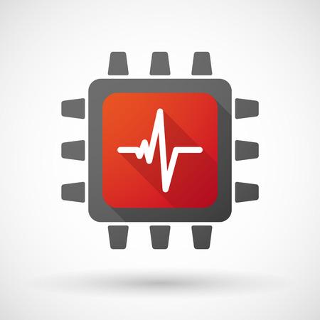 心を持つ CPU アイコンのイラスト ビート記号  イラスト・ベクター素材
