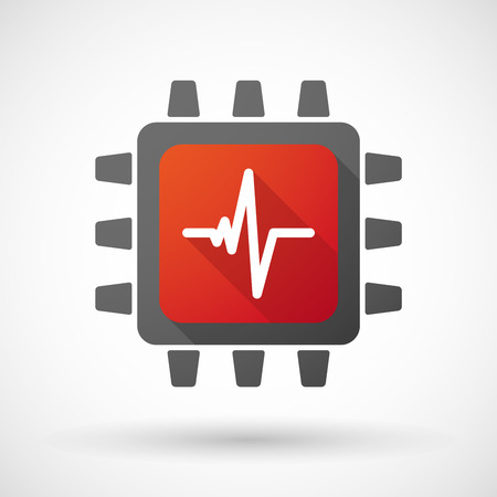 pc health: Illustration of a CPU icon with a heart beat sign