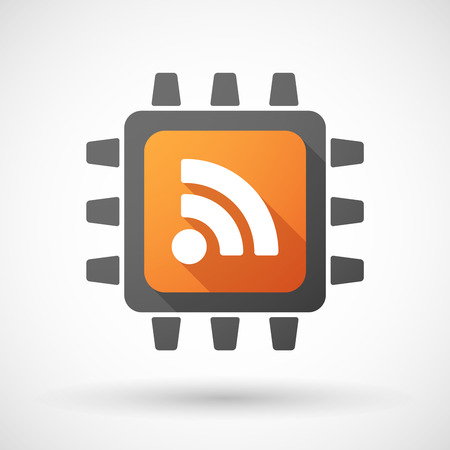 rss feed: Illustration of a CPU icon with a RSS feed dign