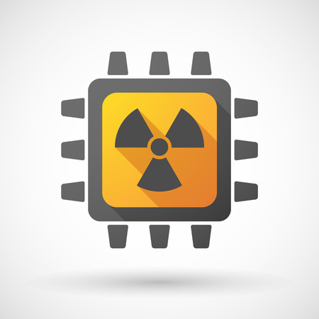 radioactivity: Illustration of a CPU icon with a radioactivity sign Illustration