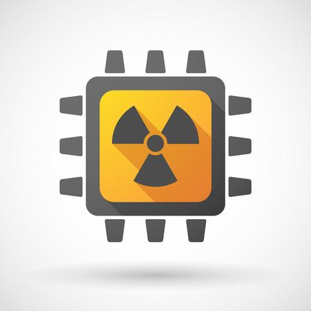 radiactividad: Ilustraci�n de un icono de la CPU con un signo de la radiactividad Vectores
