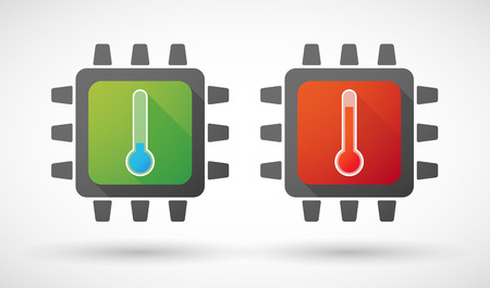 thermometers: Illustration of a CPU icon set with thermometers