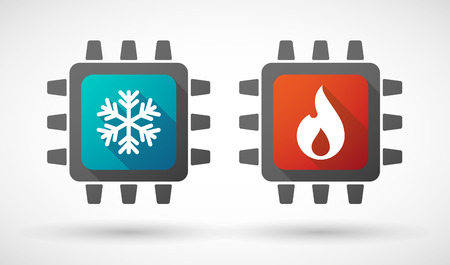 computer art: Illustration of a CPU icon set with fire and ice signs
